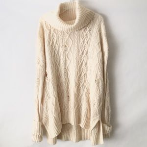 Free People Distressed Knit Sweater